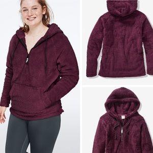 XS PINK Teddy Half-Zip Pullover- Oversized